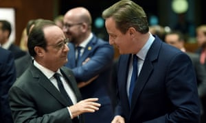 David Cameron and François Hollande during the EU summit meeting.