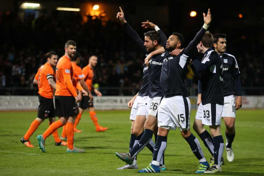 Kane Hemmings celebrates after scoring for Dundee against Dundee United in May 2016.