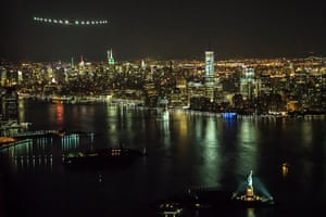 Making an historic flight over the Statue of Liberty before landing at New York's JFK airport on 11 June