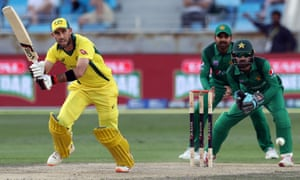 Glenn Maxwell clips the ball away on the legside during his innings of 98 against Pakistan.