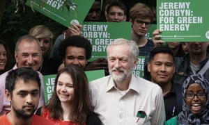 Corbyn and supporters as he launches his policies for the environment this week.