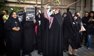 Iranian women protest at the Saudi Arabian embassy in Tehran.