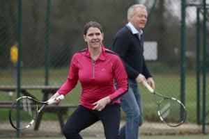 Swinson and the former Liberal Democrat justice spokesperson Phillip Lee on a visit to Shinfield Tennis Club on December 7.
