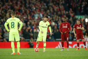 Lionel Messi dejected after the fourth goal at Anfield.