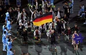 Athletes from Germany wave to the audience