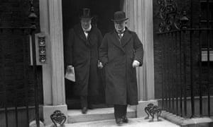 David Lloyd George and Winston Churchill leaving 10 Downing Street in 1922.