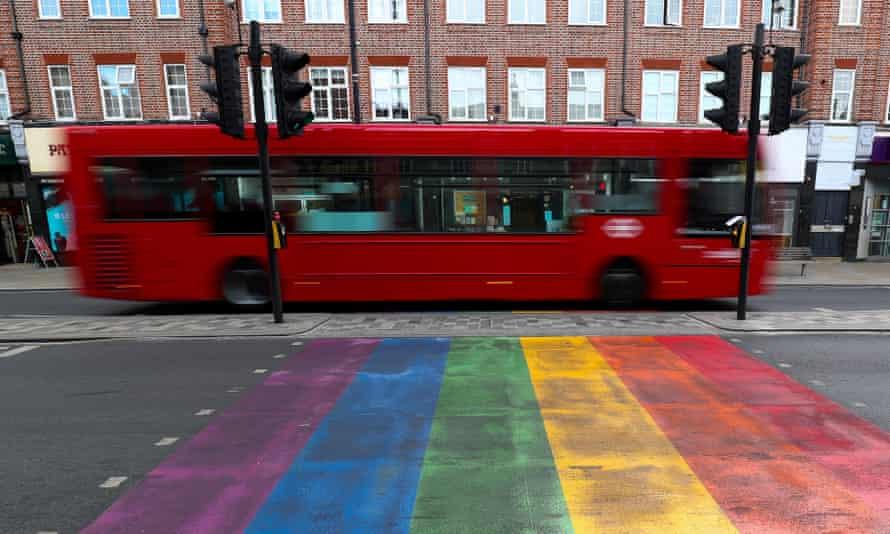 An LGBT-pride street crossing in Twickenham, London.