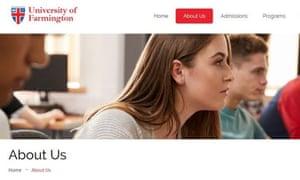 Una página del sitio web de la falsa Universidad de Farmington.
