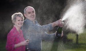 Carol and David Martin celebrate this week's £33m win. 'We just sat quietly and didn't speak to each other for about five minutes,' he said.