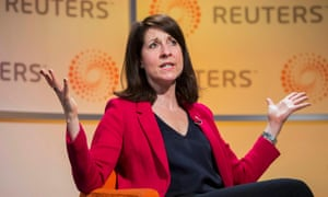 Liz Kendall answers questions at a Reuters newsmaker event at Canary Wharf in London.