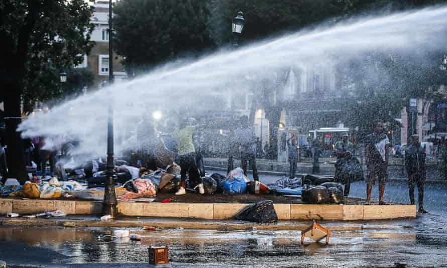 Water cannon in the square.