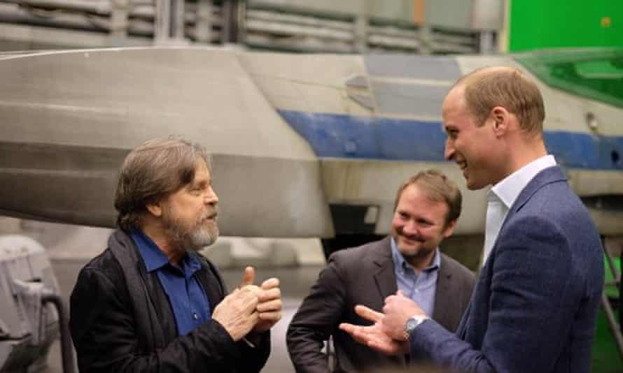 The Duke of Cambridge talks to Mark Hamill and new Star Wars director Rian Johnson.