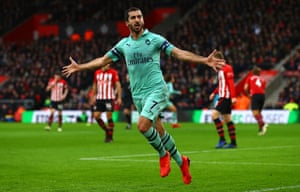 Henrikh Mkhitaryan of Arsenal celebrates after equalising