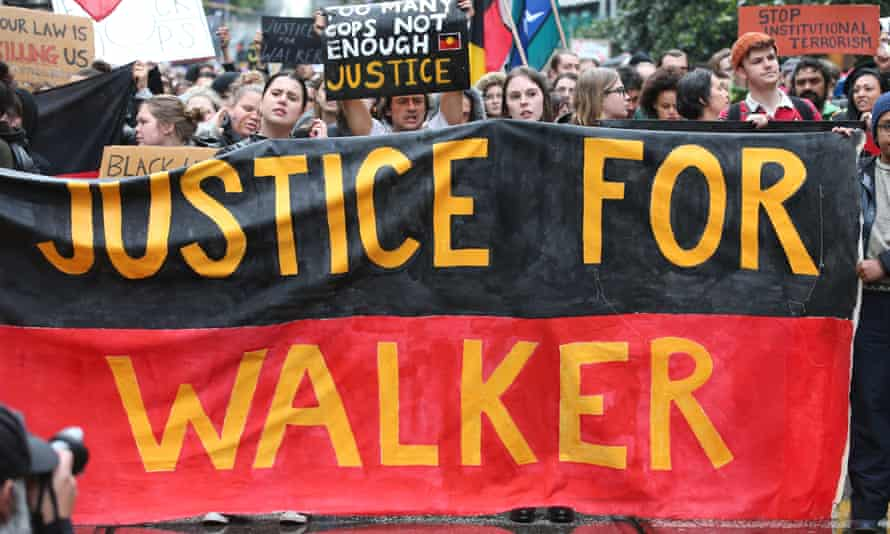 Protesters with a 'Justice for Walker' banner in Melbourne in November 2019