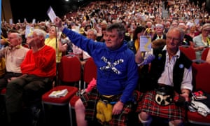 Delegates vote at the Scottish National party conference in Aberdeen on 8 June.