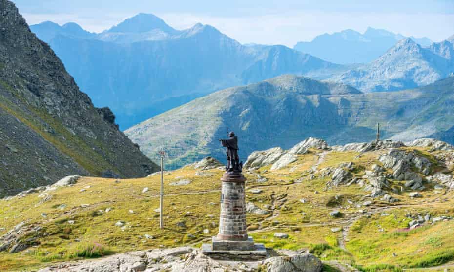 Great St. Bernard Pass in Switzerland, with statue