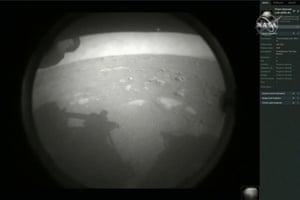 Pasadena, CaliforniaThe first images arrive moments after NASA's Perseverance Mars roverspacecraft successfully touched down on Mars at NASA's Jet Propulsion Laboratory