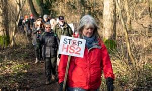 Activists demonstrating against the HS2 railway line in Denham, Buckinghamshire.
