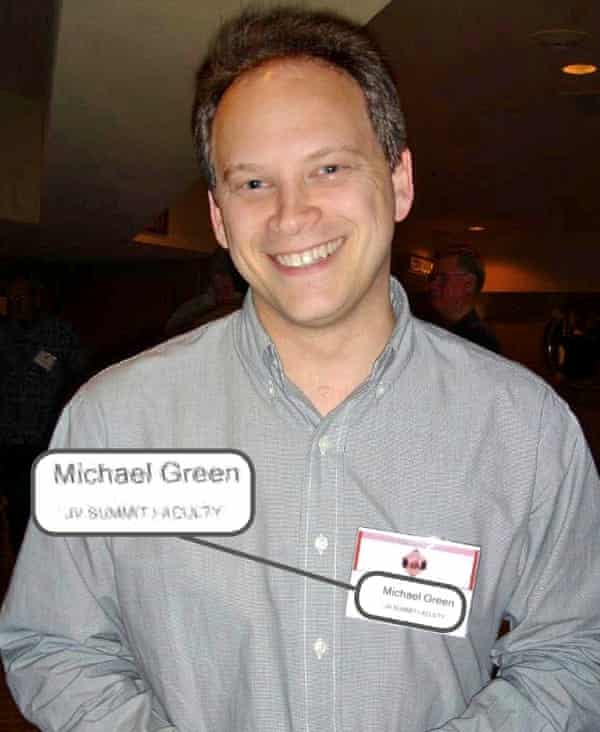 Grant Shapps showing name badge as Michael Green.
