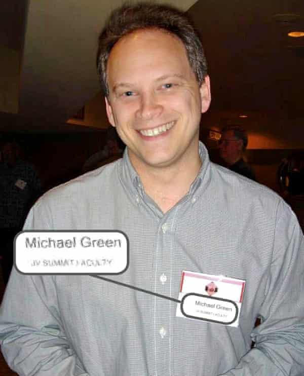 Grant Shapps with name badge as Michael Green at 2012 conference