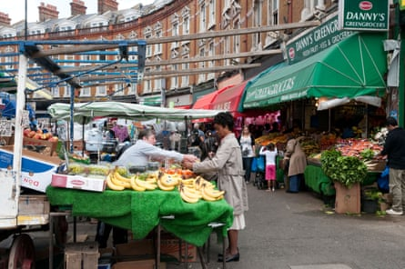 Electric Avenue street market in Brixton, London.