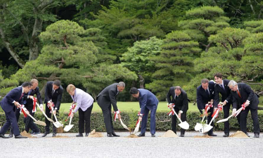 G7 leaders plant trees at Ise Jingu shrine in Kashikojima, Japan.