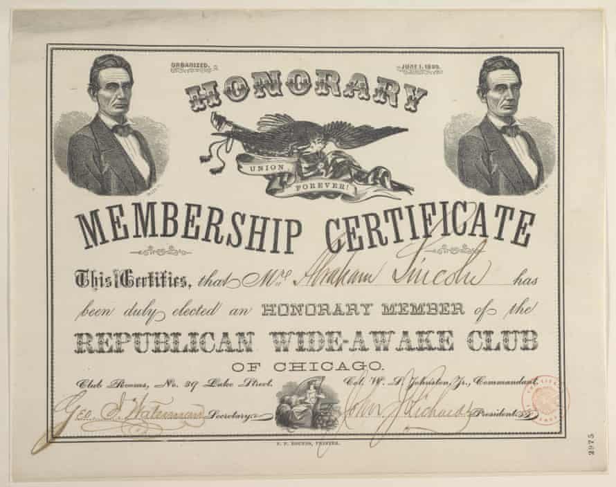 A membership certificate sent to Lincoln from Chicago in June 1860.