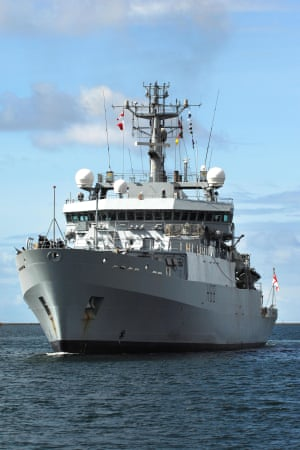 HMS Enterprise is a 3,700-tonne survey vessel capable of carrying only 120 people
