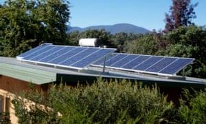 Rooftop solar panels in Yackandah in north east Victoria