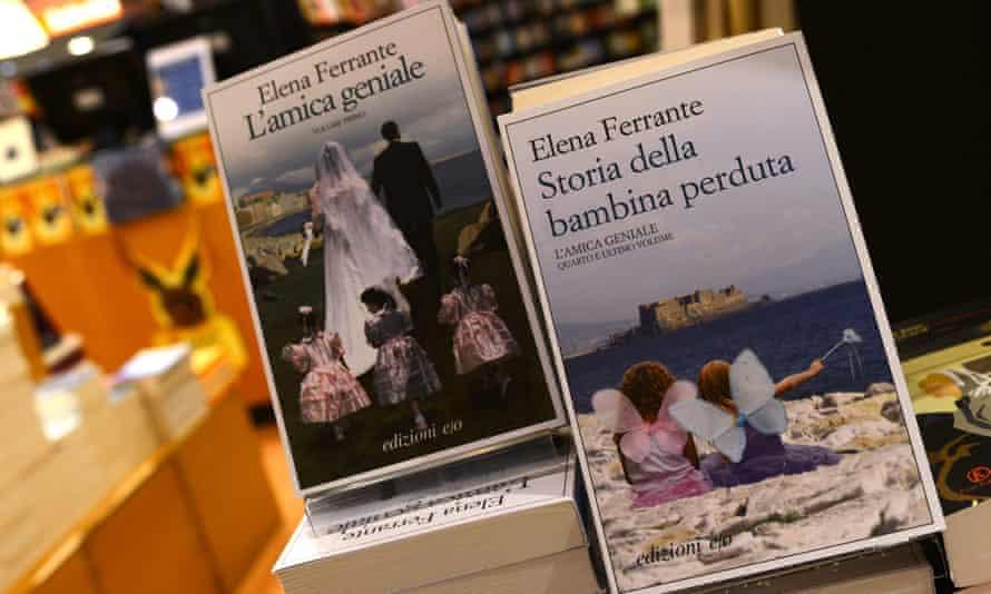 Books by Elena Ferrante on sale in a bookshop in Rome.