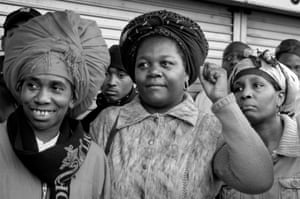 Rastafarian women lend their support to the crowd protesting at the site of an alleged rape in Perry Barr, Birmingham, in 2005