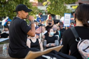 John Sullivan of Insurgence USA speaks to Black Lives Matter protesters and counter protest groups in Provo, Utah on Wednesday July 1st, 2020.