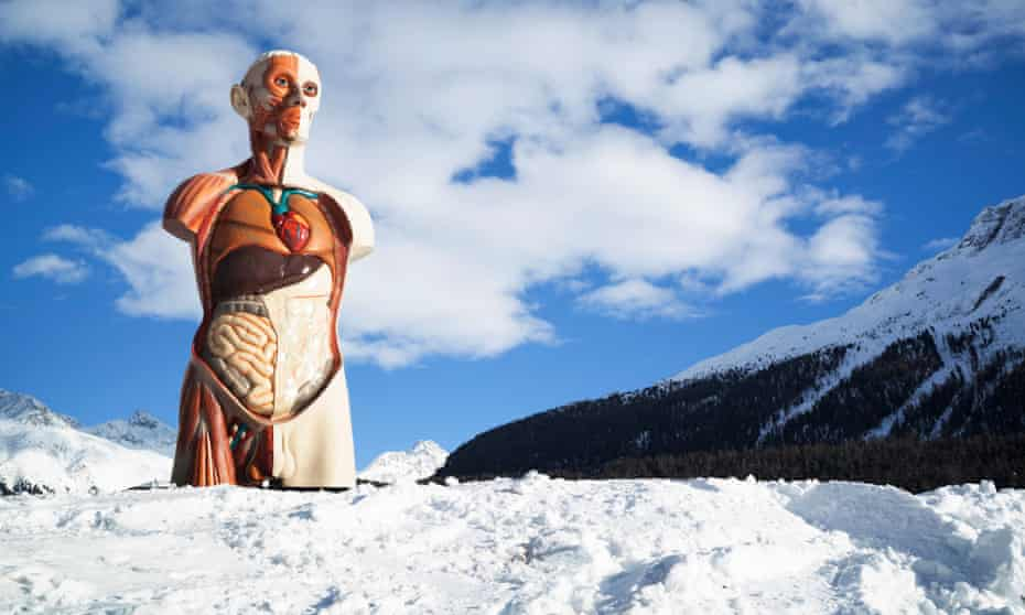 Up to his loins in crisp clean snow … Damien Hirst's 21ft-tall Temple in St Moritz, Switzerland.