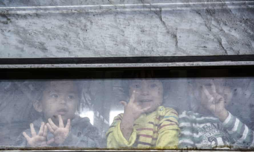 Children aboard a train transporting migrants and refugees to Serbia earlier this month.