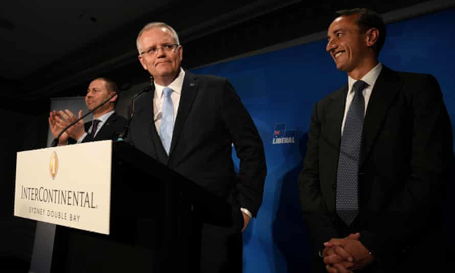 Scott Morrison (centre), with Josh Frydenberg (left) and Liberal candidate Dave Sharma at the Liberal party Wentworth byelection function, in Double Bay on Saturday night.