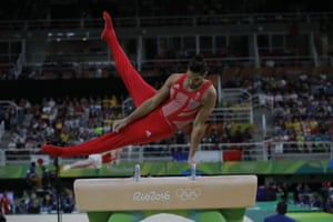 Louis Smith on the pommel horse.