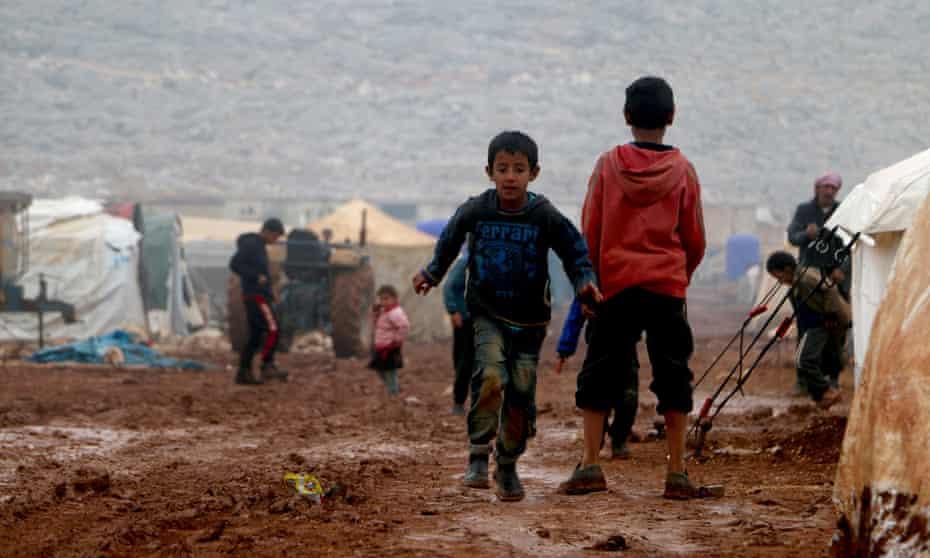 Children at a refugee camp in Idlib, Syria.
