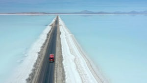 Uyuni, Bolivia A truck crosses the flooded southern zone of the Uyuni salt flats