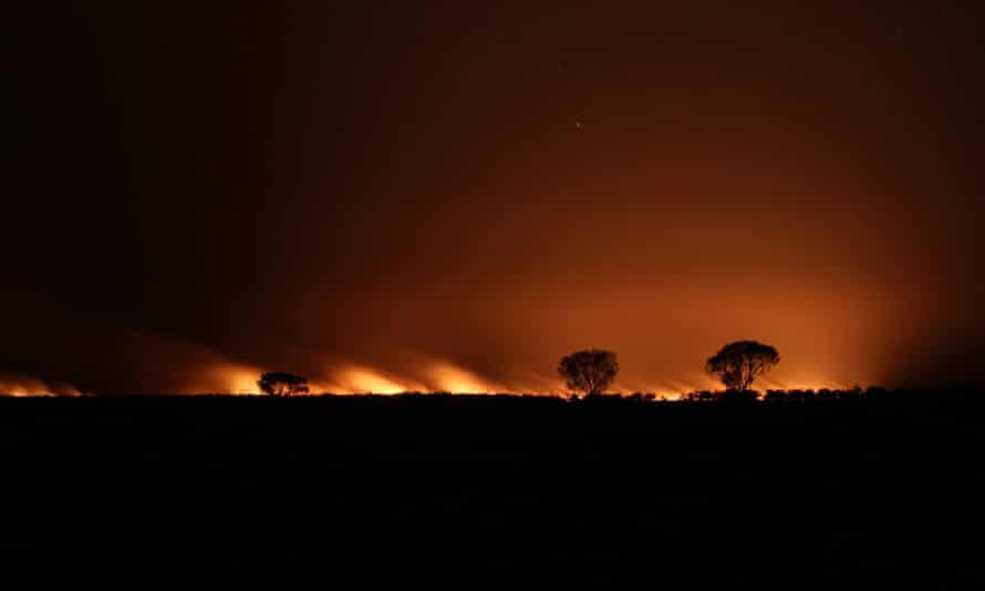 Macquarie Marshes burn during the night