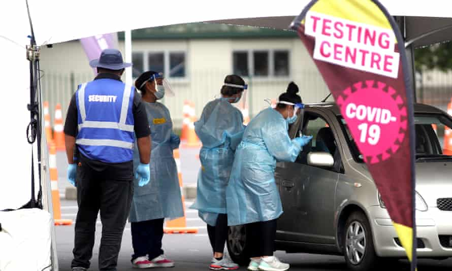 Covid testing site in Auckland. New Zealand has recorded its third day in a row with no positive cases.