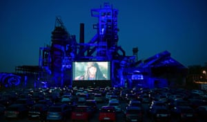 A film is screened on the ruin of the Phoenix West steel mill in Dortmund, Germany