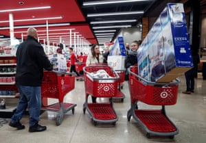 Chicago, US Customers push their shopping carts during the Black Friday sales event on Thanksgiving Day at Target