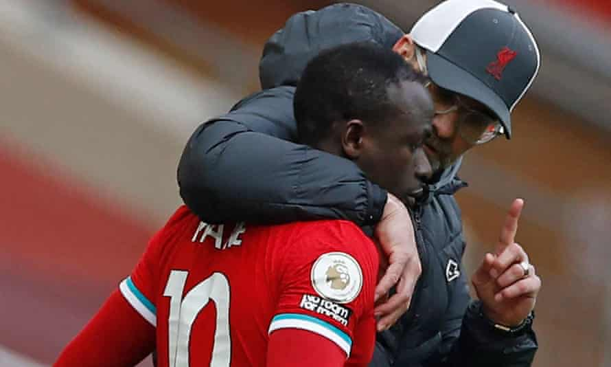 Liverpool's manager, Jürgen Klopp, with Sadio Mané in March. 'Everything will be fine,' he said on Friday.