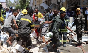 The aftermath of a car bombing in Mogadishu carried out by al-Shabaab