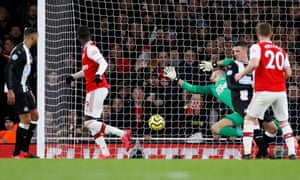 Arsenal's Nicolas Pepe scores their second goal.