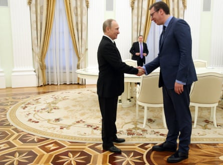 Vučić with the Russian president Vladimir Putin.