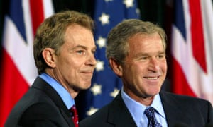 George W. Bush and Tony Blair pictured on 27 March, 2003, one week after sending troops into Iraq.