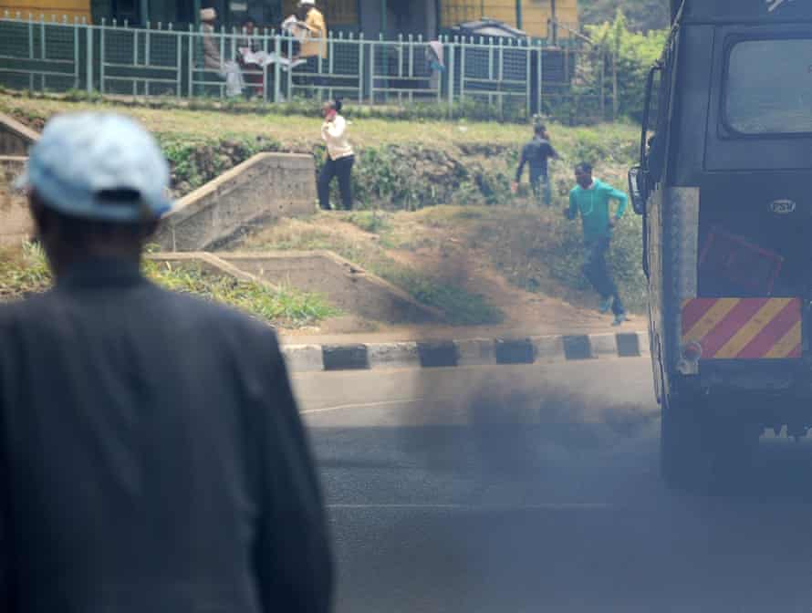 Smoke belches from a bus in Nairobi.