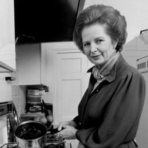 Margaret Thatcher in the kitchen of her flat at 10 Downing Street.