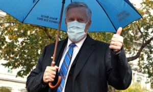 Mark Meadows offers a thumbs up to members of the media outside the White House.